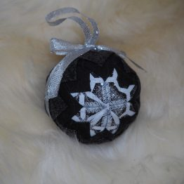 black white and silver ornament