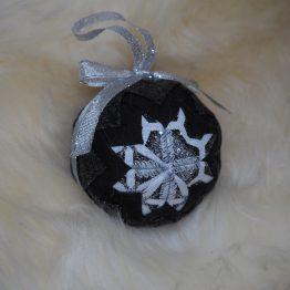 black white and silver ornament